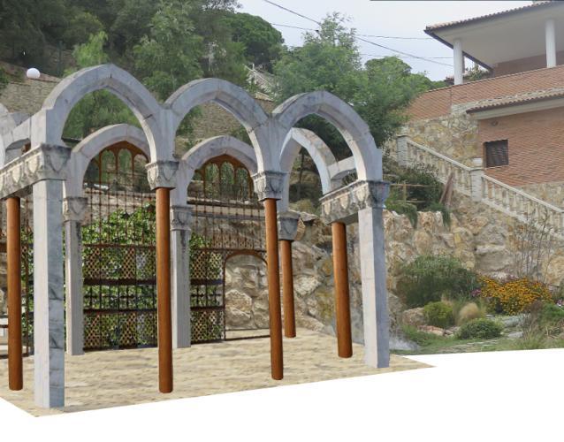 glorieta pergola de piedras arcos recuperados