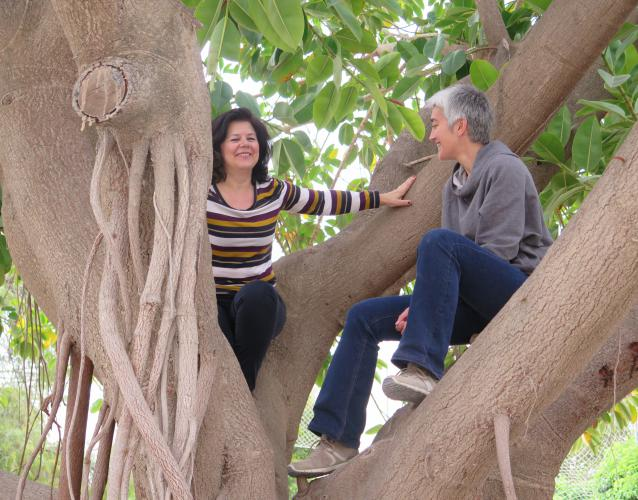 con la directora de escuela Victoria Kent sobre el árbol del patio