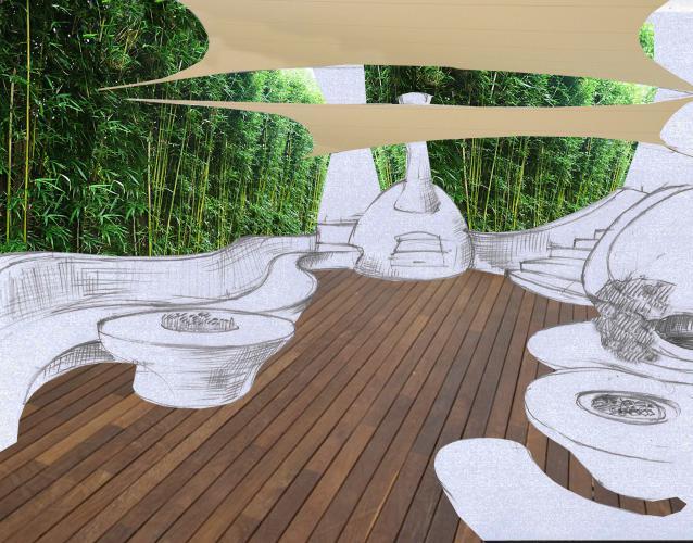 jardin japones con tarima de madera y muebles organicos