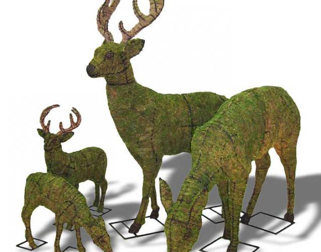 олени зелёные скульптуры