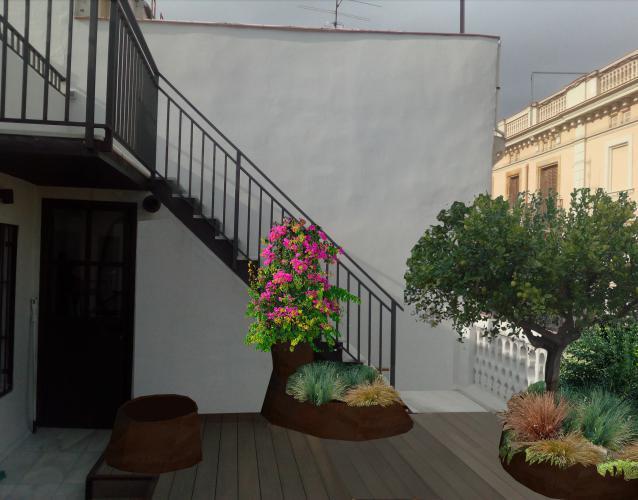 terraza con jardineras metálicas corten formas orgánicas